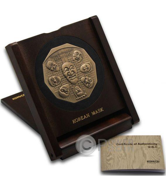 KOREAN MASK Maschera Coreana Hahoe Dance Drama Bronze Medal Medaglia Traditional Korean Mint South Korea