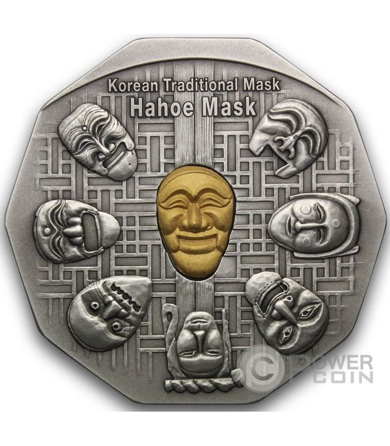 KOREAN MASK Hahoe Dance Drama Silver Gold Medal Traditional Korean Mint