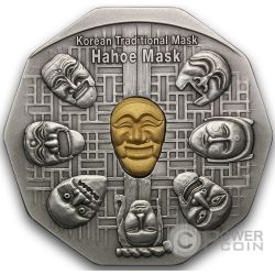 KOREAN MASK Hahoe Dance Drama Silber Gold Medal Traditional Korean Mint
