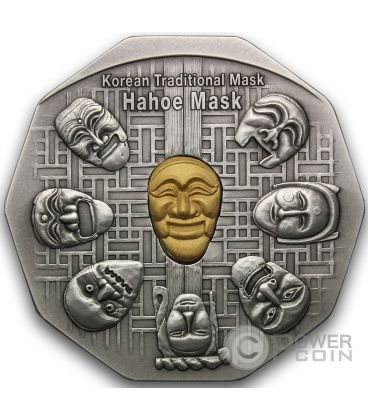 KOREAN MASK Hahoe Dance Drama Silver Gold Medal Traditional Korean Mint