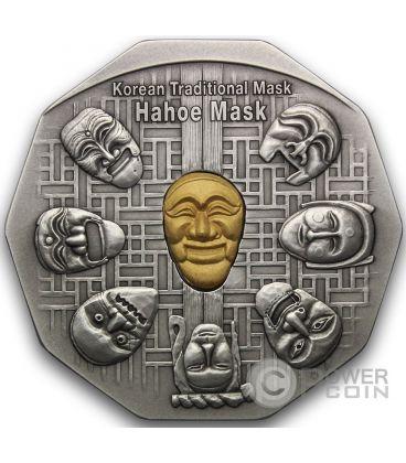 KOREAN MASK Maschera Coreana Hahoe Dance Drama Medaglia Argento Oro Traditional Korean Mint