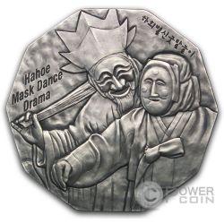 KOREAN MASK Hahoe Dance Drama Plata Oro Medal Traditional Korean Mint South Korea