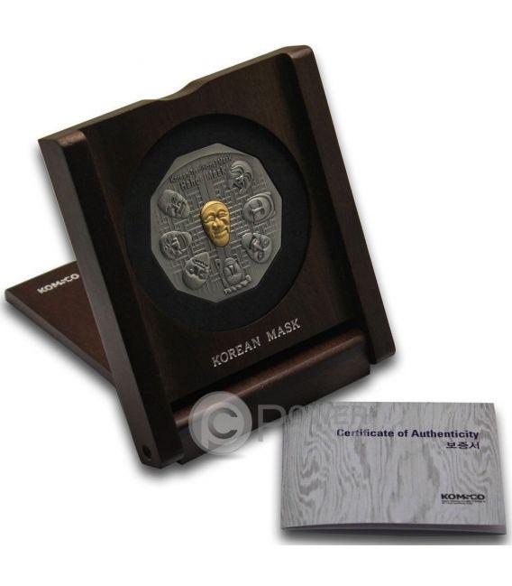 KOREAN MASK Maschera Coreana Hahoe Dance Drama Medaglia Argento Oro Traditional Korean Mint South Korea