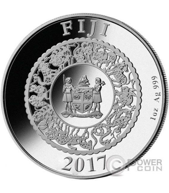 GALLO PERLA ROSSA Rooster Anno Lunare Cinese 1 Oz Moneta Argento 10$ Fiji 2017
