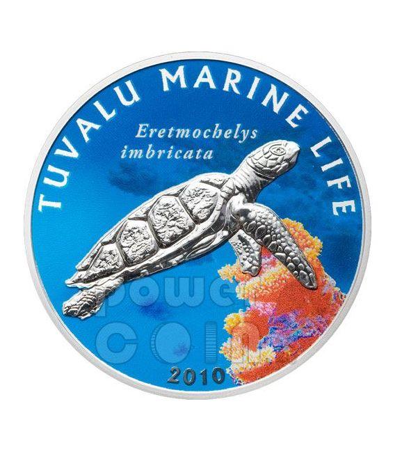 HAWKSBILL TURTLE Marine Sea Life Moneda Plata 1$ Tuvalu 2010