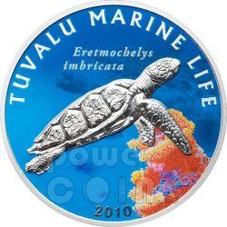 HAWKSBILL TURTLE Marine Sea Life Silber Münze 1$ Tuvalu 2010