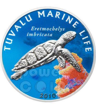 HAWKSBILL TURTLE Marine Sea Life Silver Coin 1$ Tuvalu 2010