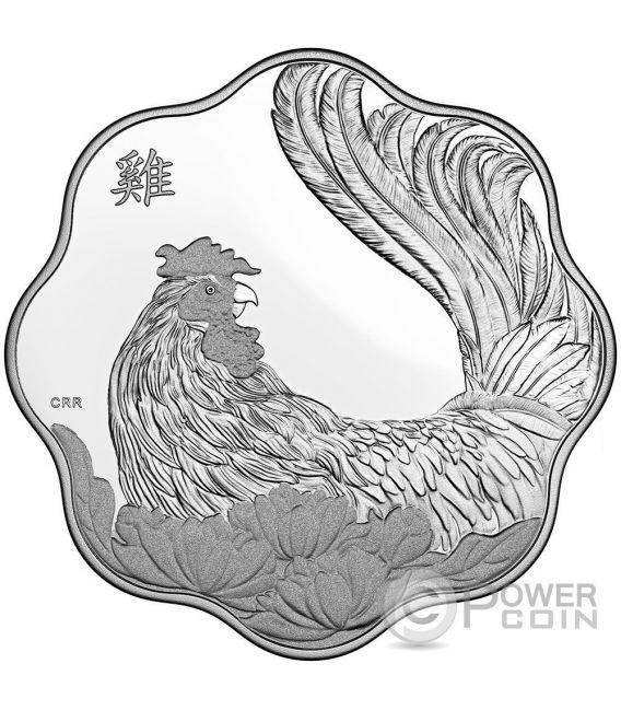 ROOSTER LOTUS Gallo Lunar Year Zodiaco Cinese Moneta Argento 15$ Canada 2017