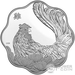 ROOSTER LOTUS Lunar Year Chinese Zodiac Silver Coin 15$ Canada 2017
