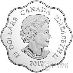 ROOSTER LOTUS Gallo Lunar Year Zodiaco Cinese Moneta Argento 15$ Canada 2017