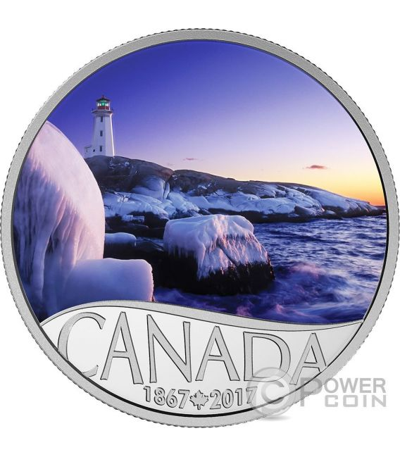 LIGHTHOUSE AT PEGGYS COVE Celebrating 150th Anniversary Silver Coin 10$ Canada 2017