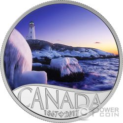 LIGHTHOUSE AT PEGGYS COVE Faro 150 Anniversario Moneta Argento 10$ Canada 2017
