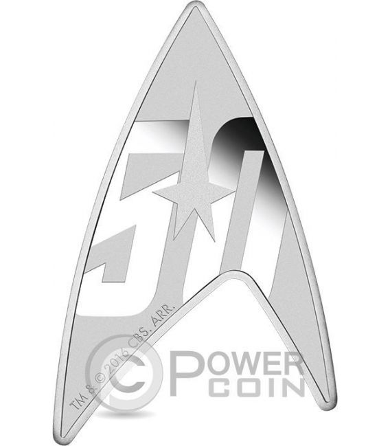 DELTA STAR TREK Original Series Insignia Shape 50th Anniversary 1 Oz Silber Münze 1$ Tuvalu 2016