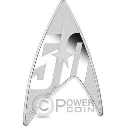 DELTA STAR TREK Original Series Emblema Forma 50 Anniversario 1 Oz Moneta Argento 1$ Tuvalu 2016
