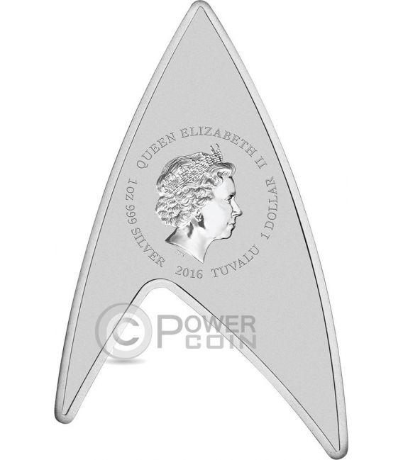 DELTA STAR TREK Original Series Insignia Shape 50th Anniversary 1 Oz Moneda Plata 1$ Tuvalu 2016