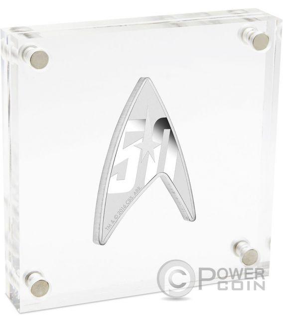 DELTA STAR TREK Original Series Insignia Shape 50th Anniversary 1 Oz Серебро Монета 1$ Тувалу 2016