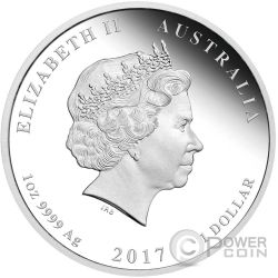 ROOSTER Lunar Year Series 1 Oz Plata Proof Moneda 1$ Australia 2017