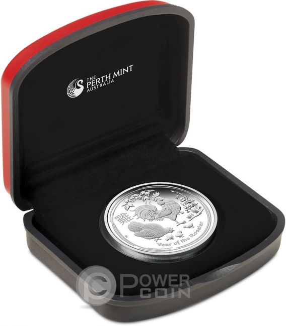 ROOSTER Lunar Year Series 1 Oz Plata Proof Moneda 1$ Australia 2017