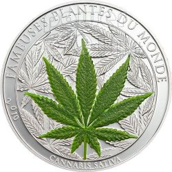 MARIHUANA Canapa Cannabis Leaf Famous Plants Smelling Coin 100 Francs Benin 2010