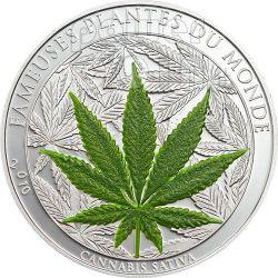 MARIHUANA Canapa Cannabis Leaf Famous Plants Smelling Монета 100 Франков Бенин 2010