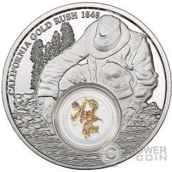 CALIFORNIA Gold Rush Nuggets 1 Oz Silver Coin 5$ Niue 2016