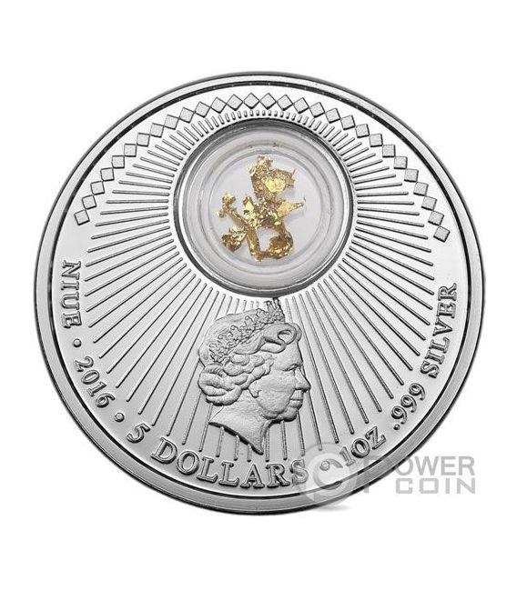 CALIFORNIA Gold Rush Nuggets Pepite 1 Oz Moneta Argento 5$ Niue 2016