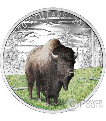 BENEVOLENT BISON Majestic Animal Silver Coin 20$ Canada 2016