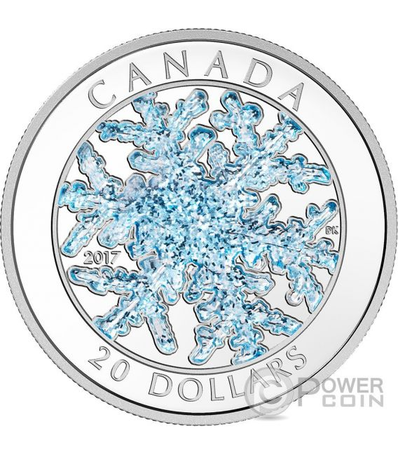 SNOWFLAKE Ice Crystal Silver Coin 20$ Canada 2017