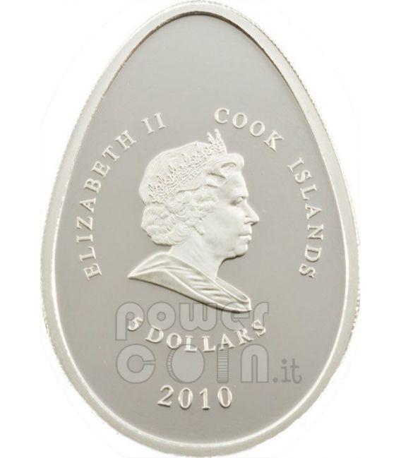 IMPERIAL EGGS BLUE Cloisonne Faberge Moneda Plata 5$ Cook Islands 2010