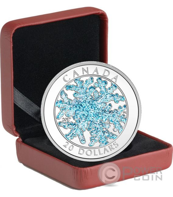 SNOWFLAKE Fiocco di Neve Ice Crystal Moneta Argento 20$ Canada 2017