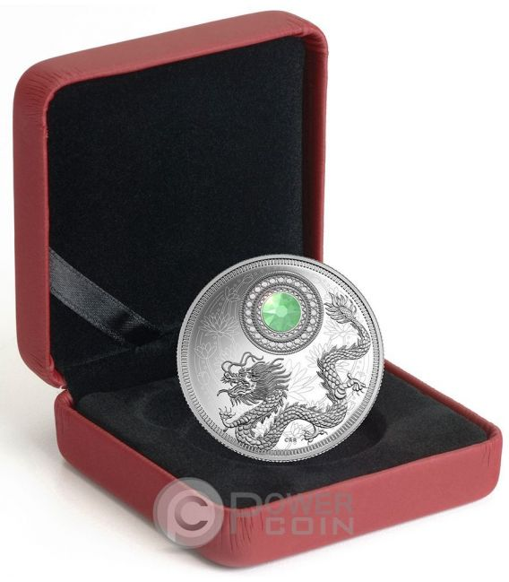 BIRTHSTONES OCTOBER Gemstone Swarovski Moneda Plata 5$ Canada 2016