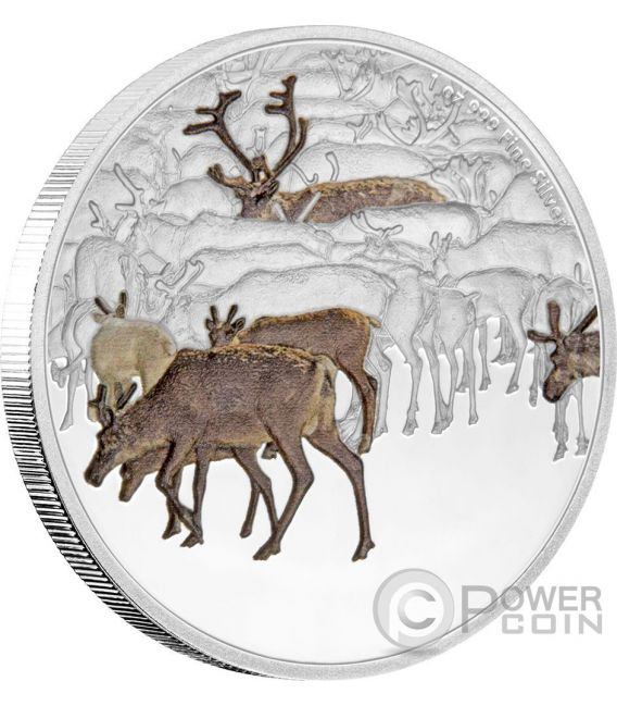 CARIBOU Renna Great Migrations 1 Oz Moneta Argento 2$ Niue 2017