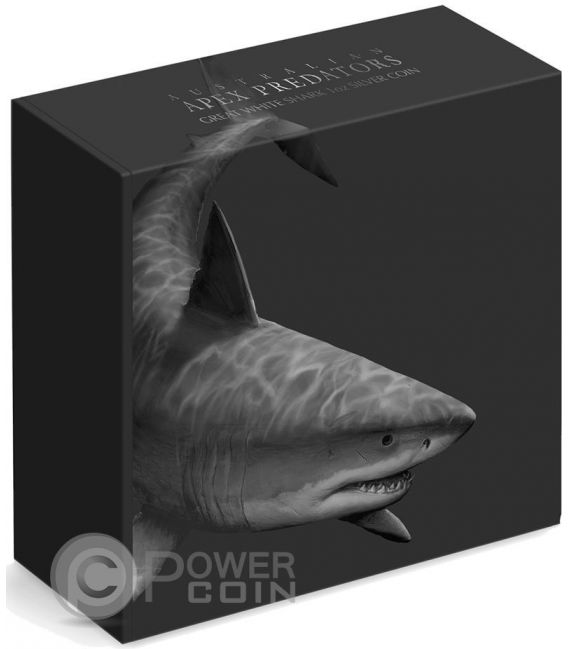GREAT WHITE SHARK Squalo Bianco Australian Apex Predators 1 Oz Moneta Argento 1$ Cook Islands 2016