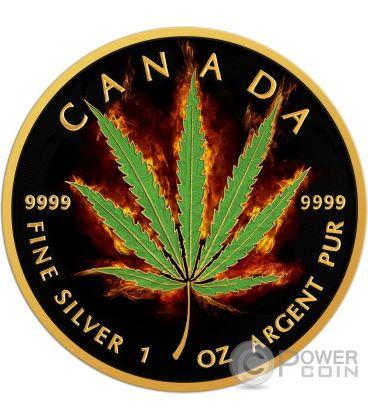 BURNING MARIJUANA SATIVA Maple Leaf Fire 1 Oz Silver Coin 5$ Canada 2016