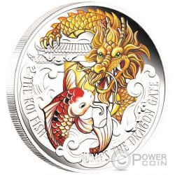 KOI FISH JUMPS THE DRAGON GATE Chinese Mythology 5 Oz Silver Coin 5$ Tuvalu 2016