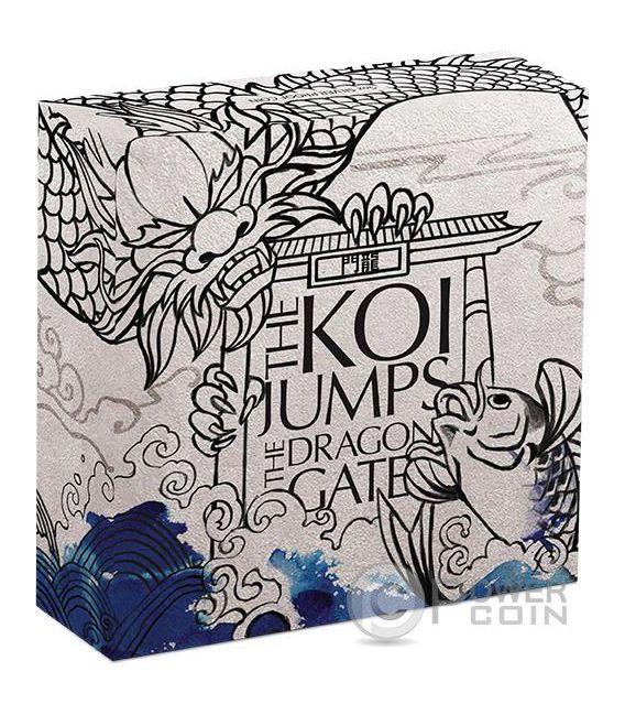 KOI FISH JUMPS THE DRAGON GATE Mitologia Cinese 5 Oz Moneta Argento 5$ Tuvalu 2016
