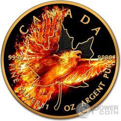 MAPLE LEAF Burning Eagle Fire 1 Oz Moneda Plata 5$ Canada 2016