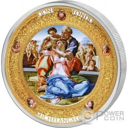 DONI TONDO MICHELANGELO Perfection in Art 2 Oz Moneta Argento 10$ Niue 2016