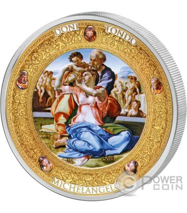 DONI TONDO MICHELANGELO Perfection in Art 2 Oz Silver Coin 10$ Niue 2016