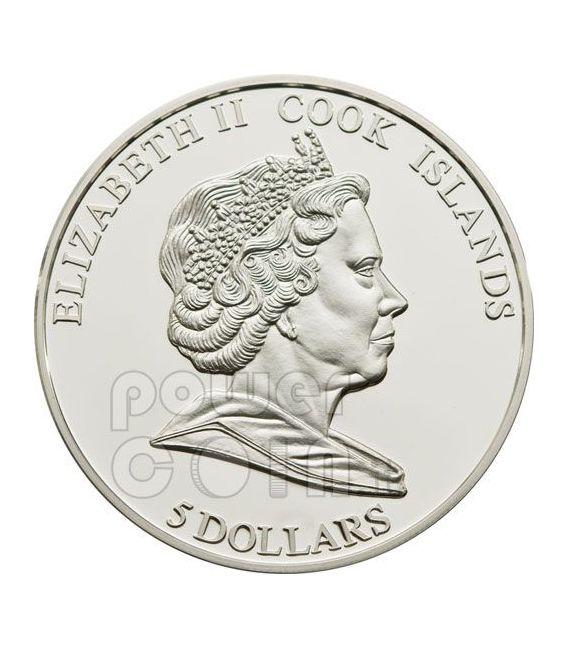 TENDER LOVE Rosa Ologramma Moneta Argento 5$ Cook Islands 2010
