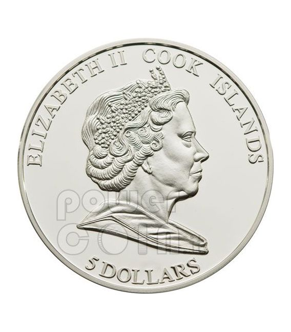 TENDER LOVE Rose Hologram Silver Coin 5$ Cook Islands 2010