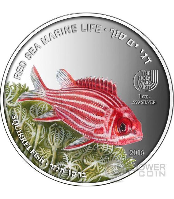 SQUIRRELFISH Red Sea Marine Life 1 Oz Silber Münze 5$ Palau 2016