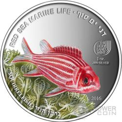 SQUIRRELFISH Pesce Scoiattolo Red Sea Marine Life 1 Oz Moneta Argento 5$ Palau 2016