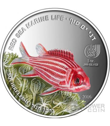 SQUIRRELFISH Pesce Scoiattolo Red Sea Marine Life 1 Oz Moneta Argento 5$ Palau 2016