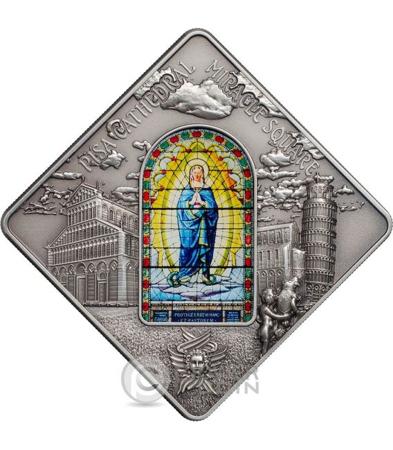 PISA CATHEDRAL Leaning Tower Holy Windows Silber Münze 10$ Palau 2016