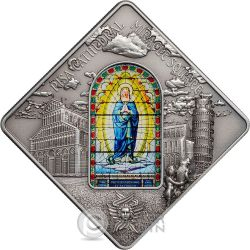 PISA CATHEDRAL Leaning Tower Holy Windows Moneda Plata 10$ Palau 2016