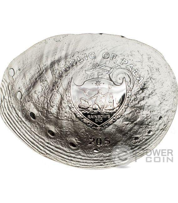 HALIOTIS OVINA PEARL Sheeps Ear Abalone Sea Treasures Hologram Convex Серебро Монета 20$ Палау 2016