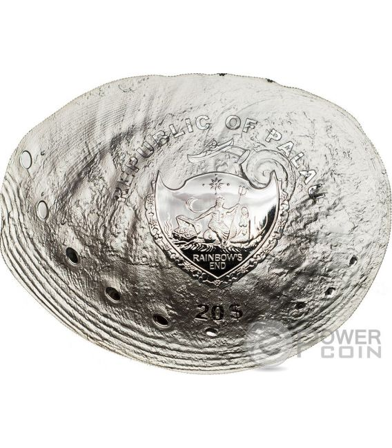 HALIOTIS OVINA PEARL Sheeps Ear Abalone Sea Treasures Hologram Convex Silver Coin 20$ Palau 2016