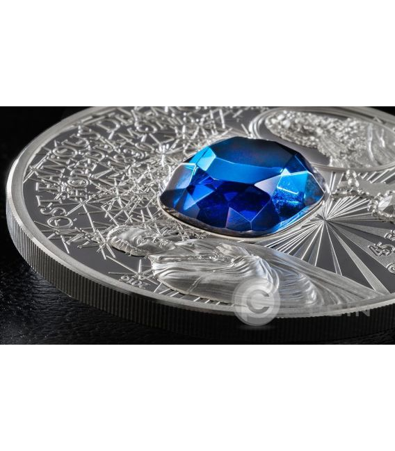 HOPE DIAMOND Diamante Most Famous Diamonds 2 Oz Moneta Argento 10$ Cook Islands 2016