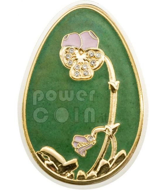 IMPERIAL EGGS GREEN Cloisonne Faberge Silver Coin 5$ Cook Islands 2010